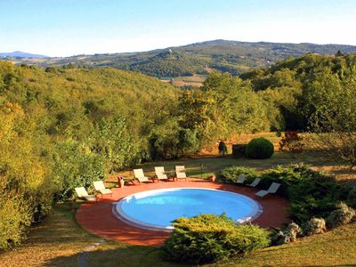 Villa L'Arco:pool and view of Todi's hills