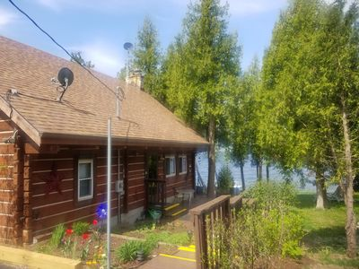 Photo for Bayside Log Home Waterfront, WiFi, 3 bedrooms, Direct TV, Fire Pit