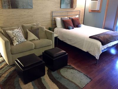 Queen bed and twin sofa bed