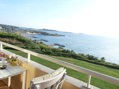 Photo for T3 duplex beautiful sea view with pool in the area of La Coudoulière