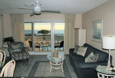 Stunning ocean view from the living room and balcony!