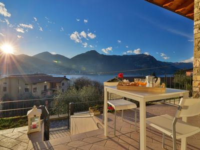 Photo for Vega apartment in Lago d'Iseo with WiFi & private roof terrace.
