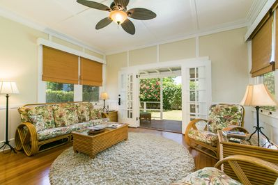 Living Room looking out to lanai and garden
