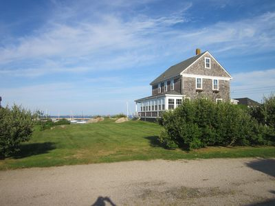 Looking west at house, Harbor & Newport beyond that sleep 9 adults & 2 children