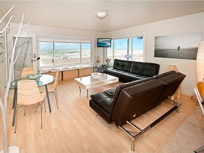 Living Room on famous Mission Beach boardwalk-2 Euro Loungers into Queen beds