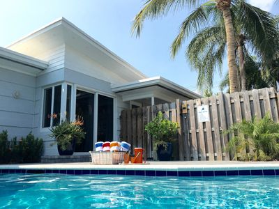 Soak up the sunshine in the Deco Bungalow's private heated pool.