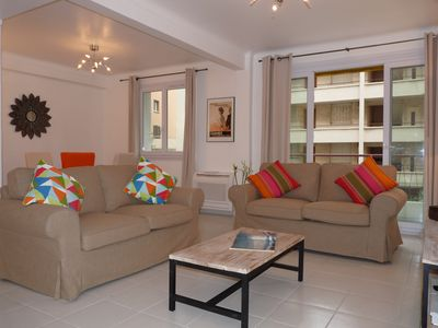 Photo for Beautiful 2 bedroom apartment with terrace right off the Croisette in Cannes.