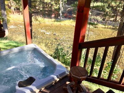 Photo for WATERFRONT BOISE RIVER CABIN IN PINE on 10 acres!  hot tub, fly fishing, DISH
