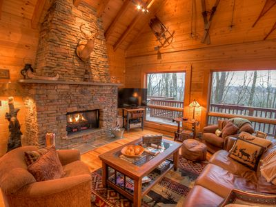Photo for 4BR Upscale Log Cabin Valle Crucis! 4BR/3.5BA Log Cabin with Hot Tub, Fire Pit, Game Tables, Flat Panel TVs, Views, Privacy & Seclusion!