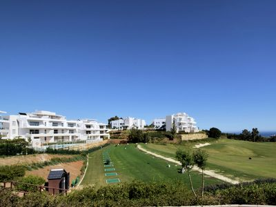 Photo for Luxury and modern apartment with beautiful terrace and sea view and golf course