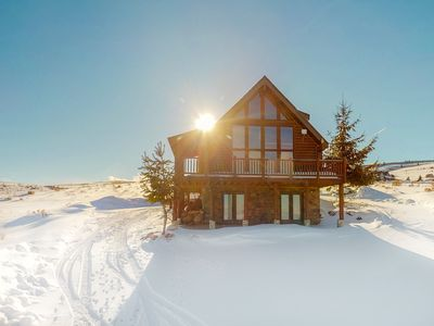 Photo for Upscale cabin w/ lake views & gas fireplace - trails within walking distance