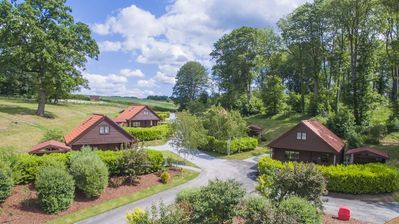 Aerial view of Woodland Lodges