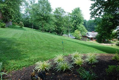 View of side yard from porch of Americas Barn