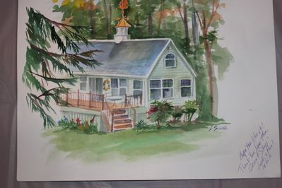 Watercolor of the cottage painted by a talented guest.