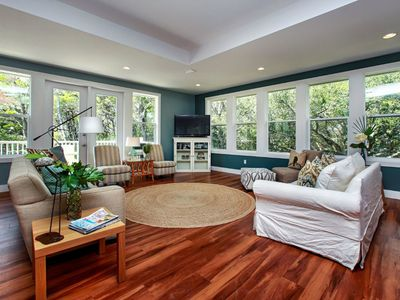Photo for Large home on nature preserve w/ screened porch & deck - walk to private beach!