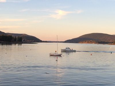 Sunset view from  deck - looking down Somes  Sound