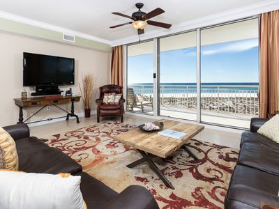 """Photo for """"Belle Mer Unit 202"""" Beach Service included, Executive unit, 2 Gulf Front Master suites, Wet Bar!"""