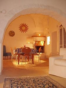 Candle-lit dining in Trullo Fulvia