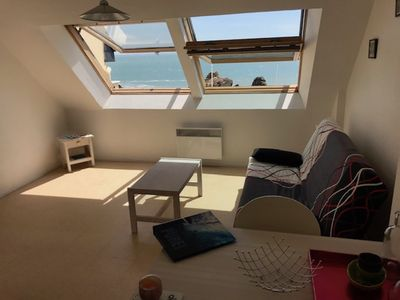 Photo for CHARMING APARTMENT OF 30M2 SEA VIEW, MR HULOT beach, ST MARC SUR MER