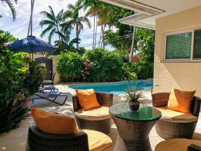 Photo for Tropical beach home with Pool & hot tub 1 block to the beach and the Auberge!