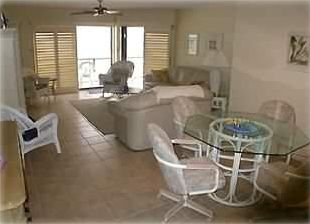 View of Dining Area and Front Room w/access  to balcony overlooking beach...
