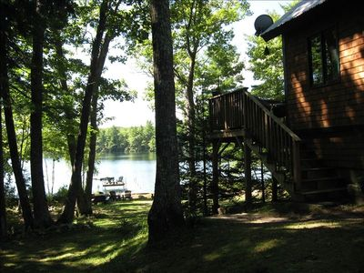 ROTD Deck at upper right overlooking Lake, Dock and Float.