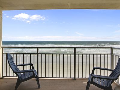 Photo for Beachy Top Floor Direct Oceanfront Condo, No Drive Beach