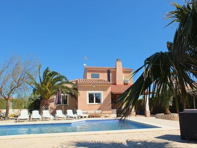 Photo for Fabulous villa with lovely private garden & pool only 5mins walk to sandy beach