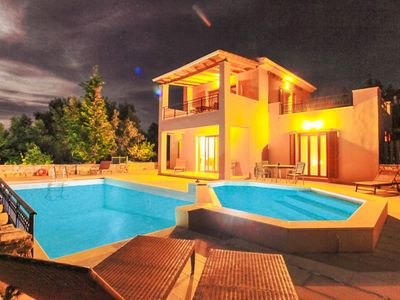 Photo for Villa Kyknos: Large Private Pool, Walk to Beach, Sea Views, A/C, WiFi, Car Not Required