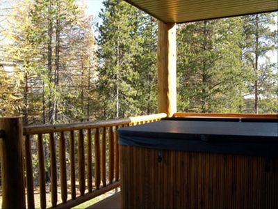 Private Hot Tub on the Back Deck facing a secluded alpine forest. Uber private!