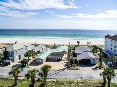 This is an overview shot of the house and its proximity to the beach.
