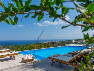 Photo for Villa Infinity with Sea Views 2 km from Rethymno city & Beach. Shaded BBQ area!