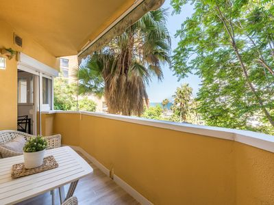 Photo for Apartment in Playamar on the Beach with Balcony, Sea View, Air-Conditioning & Wi-Fi; Parking Available