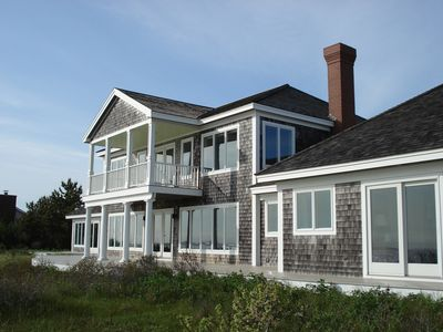 Rear facade with views of Bay.  BR to right.  BR to far left.  2 BR on 2nd floor