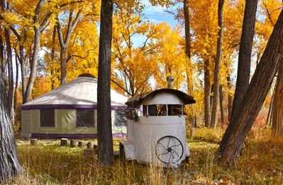 Photo for The Grove Yurt is a primitive living situation directly on the River