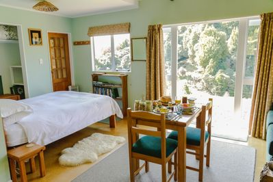 The bright, sunny & private Berry's Bush Lodge with breakfast.
