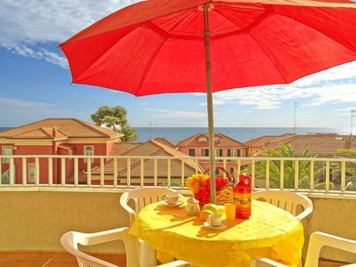 Photo for Studio apartment with balcony and sea view 50 metres from the sea and 7 Km from Sanremo