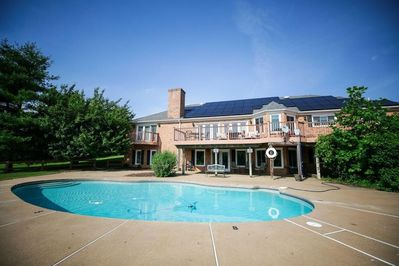 Private pool and back view of Crest Hill House