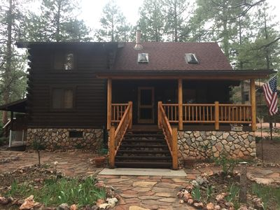 Photo for Peaceful, log cabin retreat awaits you in beautiful Pine, AZ!