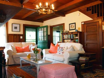Living room with Dutch door to covered porch