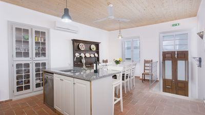Kitchen dining room with double doors out to street