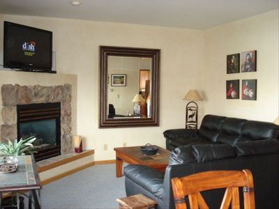 Living Room with Gas Fireplace and 42' Flat screen TV