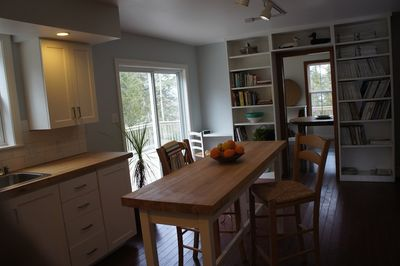 Easy access to deck from kitchen. Many cookbooks to inspire, also wifi for instant recipes!