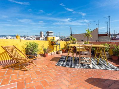 Photo for Sunny penthouse with Barcelona views for 4!