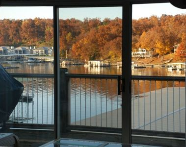 Outstanding lakefront views off the large double long deck with gas grill