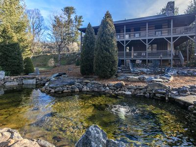Photo for Cozy Twin Rivers Edge - Waterfall & Pond - Hot Tub - Huge Fenced Yard - Outdoor Pool Table