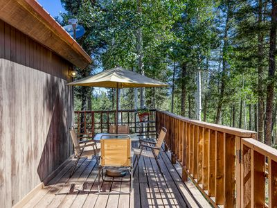 Photo for NEW LISTING! Contemporary cabin w/ fireplace, deck, shared dock, tennis, gym!