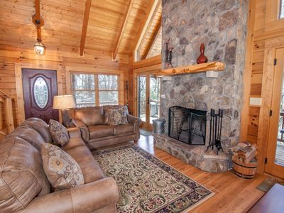 Photo for 2BR/2.5BA Peaceful Mountain Cabin by Grandfather Mtn! Hot Tub, Game Tables, Wrap Around Decks
