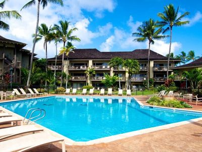 Photo for Tropical location makes this a vacation paradise.  Kauai condo on the beach