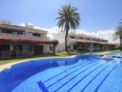 Photo for Wonderful and cheerful apartment in Denia, on the Costa Blanca, Spain  with communal pool for 7 persons